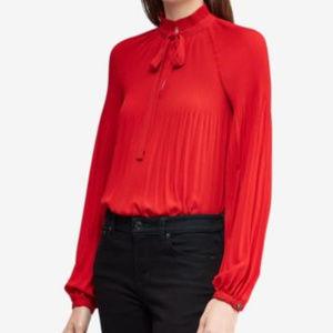 Lauren Ralph Lauren Pleated Tie-Front Top Bordeaux
